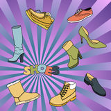 Cartoon cute doodles hand drawn Shoes vector illustration. Royalty Free Stock Image