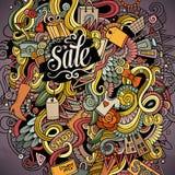 Cartoon cute doodles hand drawn Shopping illustration Stock Image