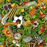 Cartoon cute doodles hand drawn Soccer seamless pattern Stock Photos