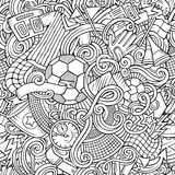 Cartoon cute doodles hand drawn Soccer seamless pattern. Line art detailed, with lots of objects background. Endless funny vector illustration stock illustration
