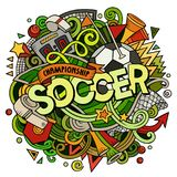 Cartoon cute doodles hand drawn Soccer illustration Stock Image