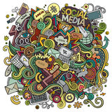 Cartoon cute doodles hand drawn social media illustration. Stock Images