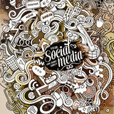 Cartoon cute doodles hand drawn social media illustration. Royalty Free Stock Images