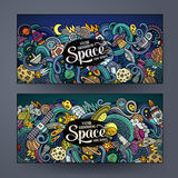 Cartoon cute doodles hand drawn space banners Royalty Free Stock Photos