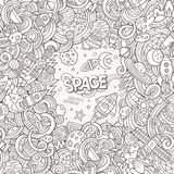 Cartoon cute doodles hand drawn space illustration Royalty Free Stock Photo