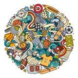 Cartoon cute doodles hand drawn Sport illustration Stock Photo