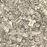 Cartoon cute doodles hand drawn Sport seamless pattern Stock Photography