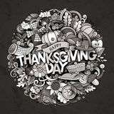 Cartoon cute doodles hand drawn Thanksgiving inscription Stock Image