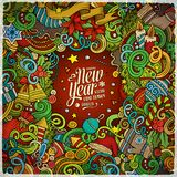 Cartoon cute doodles Happy New Year frame. Cartoon cute doodles hand drawn Happy New Year frame design. Colorful detailed, with lots of objects background. Funny Stock Illustration