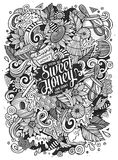 Cartoon cute doodles Honey illustration Stock Image