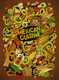 Cartoon cute doodles Mexican food illustration Royalty Free Stock Image