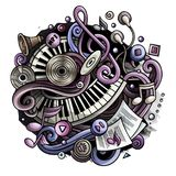 Cartoon cute doodles Music illustration. Cartoon cute doodles hand drawn Music illustration. Colorful detailed, with lots of objects background. All items are Royalty Free Stock Photo