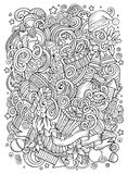 Cartoon cute doodles New Year illustration Stock Image