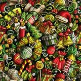Cartoon cute doodles New Year seamless pattern Stock Photos