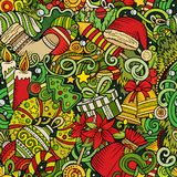 Cartoon cute doodles New Year seamless pattern. Colorful background. All objects separate. Backdrop with Christmas symbols and items Royalty Free Stock Photo