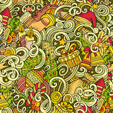 Cartoon cute doodles New Year seamless pattern. Colorful detailed, with lots of objects background. Endless vector illustration. Backdrop with Christmas stock illustration