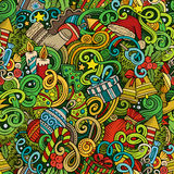Cartoon cute doodles New Year seamless pattern. Colorful detailed, with lots of objects background. Endless vector illustration. Backdrop with Christmas royalty free illustration