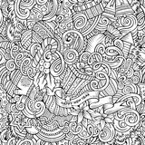 Cartoon cute doodles New Year seamless pattern. Line art detailed, with lots of objects background. Endless vector illustration. Contour backdrop with royalty free illustration