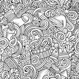 Cartoon cute doodles New Year seamless pattern. Line art detailed, with lots of objects background. Endless vector illustration. Contour backdrop with vector illustration