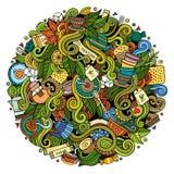Cartoon cute doodles Tea time illustration Stock Photos