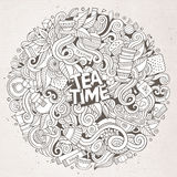 Cartoon cute doodles Tea time illustration Royalty Free Stock Photography