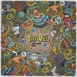 Cartoon cute doodles Travel frame design Stock Photos