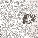 Cartoon cute doodles Travel frame design. Cartoon cute doodles hand drawn Travel frame design. Line art detailed, with lots of objects background. Funny vector vector illustration