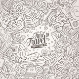 Cartoon cute doodles Travel frame design. Cartoon cute doodles hand drawn Travel frame design. Line art detailed, with lots of objects background. Funny vector Stock Image