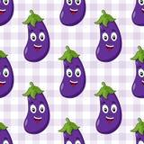 Cartoon Cute Eggplant Seamless Pattern Stock Image