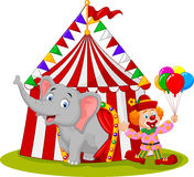 Cartoon cute elephant and clown with circus tent vector illustration