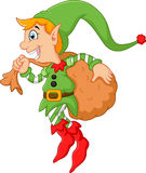 Cartoon cute elf boy with sack Royalty Free Stock Photos