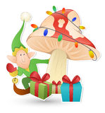Cartoon Cute Elf - Christmas Vector Illustration Stock Images