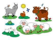 Cartoon cute farm animals collection 1 stock illustration