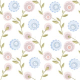 Cartoon cute fblue pink lowers seamless pattern on white Stock Image