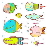 Cartoon Cute Fish Drawing Collection. Funny humor cartoon hand drawn brightly colored fiish set. Pencil style. EPS10 vector has no background color Royalty Free Stock Photo