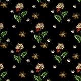 Cartoon cute flowers seamless pattern on black Stock Image