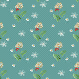 Cartoon cute flowers seamless pattern on blue Royalty Free Stock Photo
