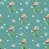 Cartoon cute flowers seamless pattern on blue Royalty Free Stock Photo
