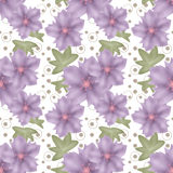 Cartoon cute flowers seamless pattern on polka dot Stock Image