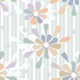 Cartoon cute flowers seamless pattern on striped Stock Images