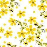 Cartoon cute flowers seamless pattern on white Royalty Free Stock Image