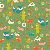 Cartoon cute forest seamless pattern Royalty Free Stock Photos
