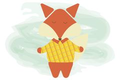 Cartoon cute fox illustration. Vector flat cartoon  character animal stock illustration