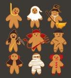 Cartoon cute funny Halloween cookies. Gingerbread horror characters set. Vector illustration. Cartoon cute funny Halloween cookies. Gingerbread horror vector illustration