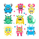 Cartoon cute funny monsters, aliens and bacterias set. Colorful collection of friendly monsters Illustration. Isolated on white background Stock Photos