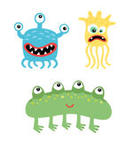 Cartoon cute and funny monsters and bacterias. Vector microbes isolated on white. Stock Image