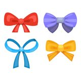 Cartoon cute gift bows with ribbons. color butterfly tie.  Stock Photo