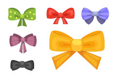 Cartoon cute gift bows with ribbons. color butterfly tie Royalty Free Stock Photography