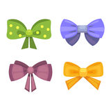 Cartoon cute gift bows with ribbons. color butterfly tie Stock Photo