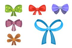 Cartoon cute gift bows with ribbons. color butterfly tie Stock Images